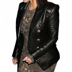 Kim Kardashian Double Breasted Leather Jacket