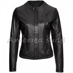Ladies Black Leather Collarl Less Stylish jacket