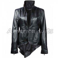 Mandarin Collar Womens Black Leather Jacket for Sale