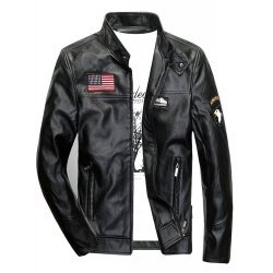 Mens MA-1 Air Force Bomber Flight Leather Jacket