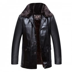 Mens Velvet Plus Warm stylish Leather Jacket