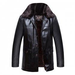Mens Velvet Plus Warm stylish Leather Jacket
