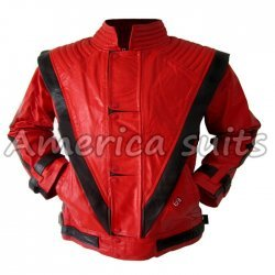 Michael Jackson Thriller Red with black stripes Costume Jacket