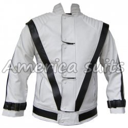 Michael Jackson Thriller White with Black Stripes Leather Jacket