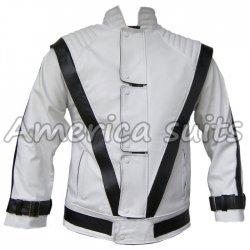 Michael Jackson Thriller White with Black Stripes Leather Jacket
