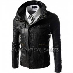 Slim Fit Black Bomber Style Leather Jacket
