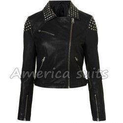 Studded Faux Demi Lovato Leather Jacket