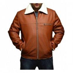 Tan Brown Faux Shearling Jacket For Man