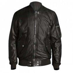 Vin Diesel Black Leather Bomber Jacket