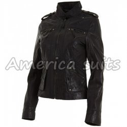 Womens Classic Leather Biker Jacket