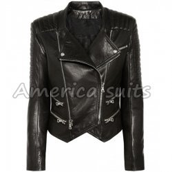 Womens Lambskin Quilted Biker Jacket