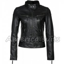 Womens Slim Fit Lambskin Biker Jacket