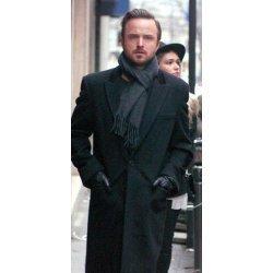 Aaron Paul Black Wool Coat