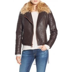 Andrew Marc Leather Moto Jacket with Removable Faux Fur Collar