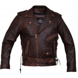 Antique Brown Biker Leather Jacket For Men