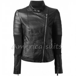 Asymmetric Women Quilter Biker Leather Jacket