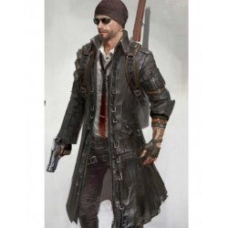 Battlegrounds Playerunknown Black leather Trench coat