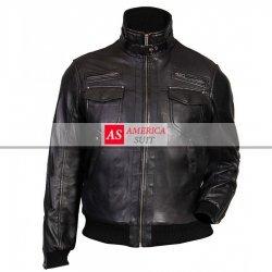 Black Genuine Leather Bomber Jacket