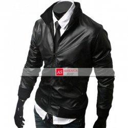 Black Genuine leather Moto Jacket For Men