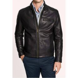 Men Black Leather Moto Jacket