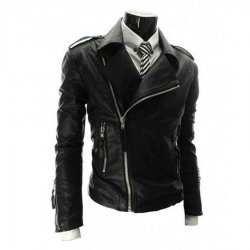Black Mens Slim Fit Leather Biker Jacket