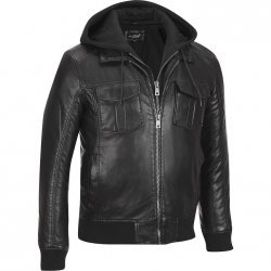 Black Rivet Mens Faux-Leather Bomber Jacket W/ Removable Hood & Knit Trim