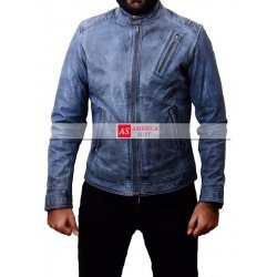 Blue Denim Leather Jacket