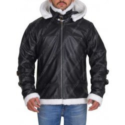 Bomber Style Shearling Leather Jacket