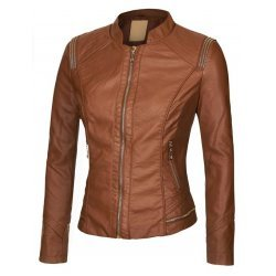 Brown bomber jacket for women
