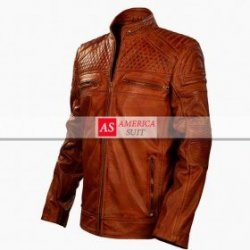 Brown Cafe Racer Style Biker Jacket
