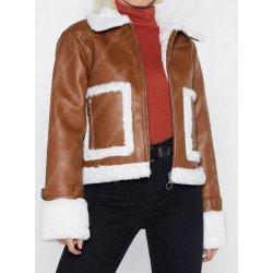 Brown Cropped Shearling Zipper Jacket