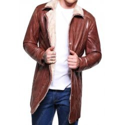 Brown Leather Mid Length Shearling Coat