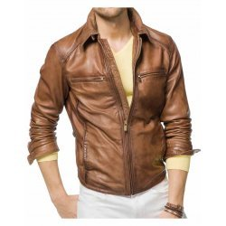 Men designer Tan Leather Jacket