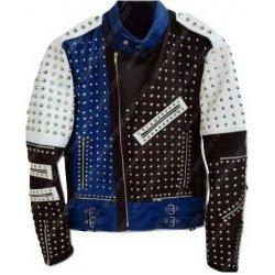 Cafe Racer Studded Blue Leather Jacket