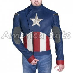 Captain America Chris Evan Blue Leather Jacket
