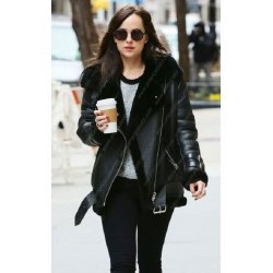 Dakota Johnson Shearling Leather Jacket