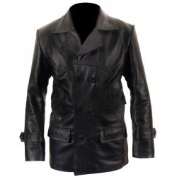 Dr Who Black Leather  Coat For Men