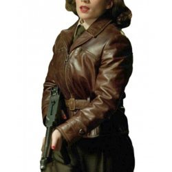 Hayley Atwell Captain America Brown Leather Jacket
