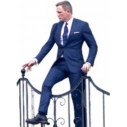James Bond Spectre Navy Blue Windowpane Suits