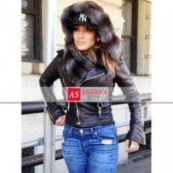 Jennifer Lopez Black Leather Jacket With Fur