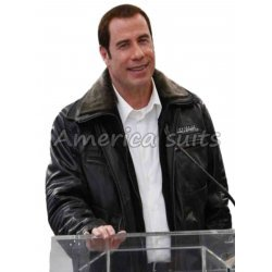 John Travolta Burbank Airport Leather Jacket