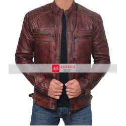 Johnson Brown Distressed Lambskin Racer