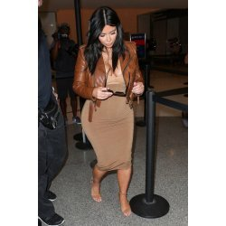 kim Kardashian Brown Distressed Leather Jackets For Women