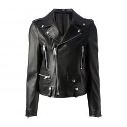 Kim Kardashian Slim Fit Black Biker Leather Jacket