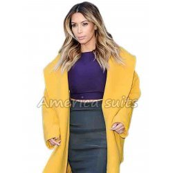 Kim Kardasian Long Yellow Coat