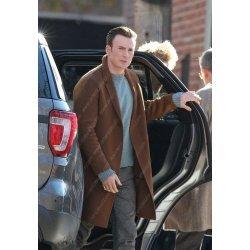 Knives Out Chris Evans Brown Wool Coat