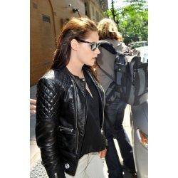 Kristen Stewart Balanceago Black Biker Leather Jacket