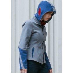 Mega Man Blue Leather Jacket With Hoodie For Men