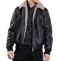 Men Aviator Bomber Black Leather Jacket