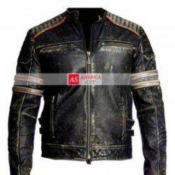 Men Black Distressed Leather Jacket